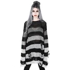 Killstar Gothic Goth Okkult Punk Pullover Strickpullover - Grady Ombriert Grau