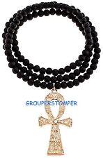 "Ankh Necklace Large Egyptian Cross Pendant/ Rhinetones On 37"" Wood Bead Chain"