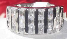 413602  WOMENS PRINCESS TRIPLE ROW SIMULATED DIAMOND RING WEDDING ETERNITY BAND
