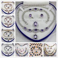 Amethyst Zircon Inlay Link Bracelet Earrings Ring Necklace Set - No Gift Box AAA