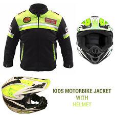 Kids motorcycle motorbike motocross jacket helmet clothing waterproof CE Armour