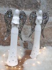 Porzellan Engel weiß Herz Buch Weihnachten Advent silber Flügel Skulptur 61056