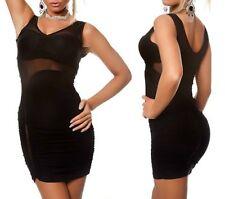 Sexy Miss mini vestido de fiesta dress tul cut out S/M 34/36 M/L 36/38 negro nuevo