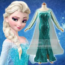 Adulte Reine Des Neiges Elsa Robe De Luxe Costume Cosplay Brillant Paillettes