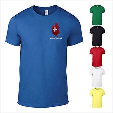 T-Shirt Schweiz CH  Land Wunschame bestickt Europa Flagge 3D Traumziel S-XXL