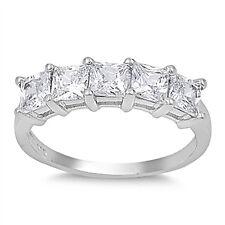 Sterling Silver 925 Princess Cut CZ Women's Anniversary Wedding Band Ring 4-10