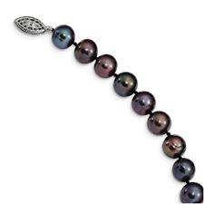 Sterling Silver 9-10mm Black Egg Shape FW Cultured Pearl Bracelet or Necklace QH