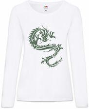 Tribal Chinese Dragon II Damen Langarm T-Shirt China Symbol Tattoo Knot