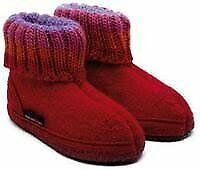 HAFLINGER pantofole baby unisex PAUL 63105185B ZIEGELROT lana cotta ROSSO