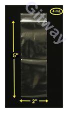 "2"" x 5"" Reclosable Resealable Ziplock Zip Lock 2x5"" Bag  Plastic Poly Bags 4 MIL"
