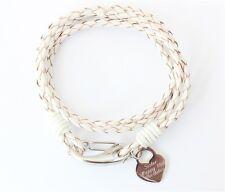 POPPY Ladies White Leather Wrap Bracelet ENGRAVED HEART PERSONALISED & Gift Box