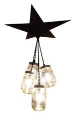 Mason Jar Chandelier Barn Star - Country Rustic Primitive Farm Light - 5 Jar