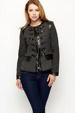 Women military jacket tweed leather trench wool grey black coat blazer M L XL