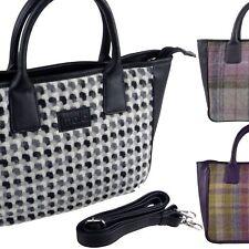Ladies LEATHER & British Tweed Grab BAG by Mala; Abertweed Collection Handbag