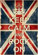 KCV14 Vintage Style Union Jack Keep Calm Rock On Funny Poster Print A2/A3/A4