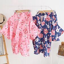 New Chinese Japanese Rabbits and Cherry Blossom Short Ladies Kimono Pyjamas