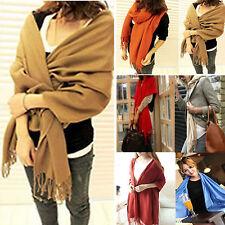 Winter Women Girl Large Wool Cashmere Warm Soft Scarf Shawl Solid Pashmina Stole