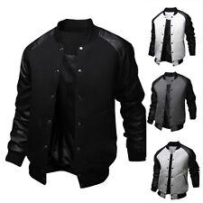 Men Winter Long Sleeve Bomber Motorcycle Varsity Jacket Baseball Coat Outerwear