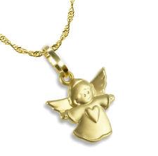 ECHT GOLD *** Kleiner Herz Anhänger Schutzengel Engel mit Herz, Kette optional