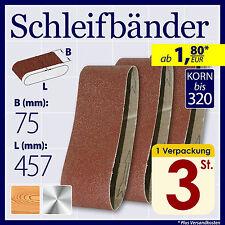 Schleifband Schleifbänder 75 x 457 mm Korn 40 60 80 100 150 180 220 280 320