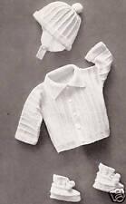 Vintage Knitting PATTERN to make Baby Boy Set Hat Sweater Booties Ribbed BoyHat