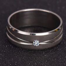Unisex: Men's / Women's Brushed Steel, Diamond Cut, Diamante Crystal Ring