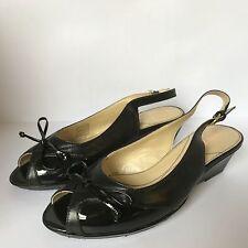 Van Dal Quezon Slingbacks Peep Toes Wedge Heel Black/Patent  E/EE Width New £35