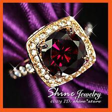18K ROSE GOLD GF R52 FILIGREE BIG GARNET SIMULATED DIAMOND WEDDING SOLID RINGS