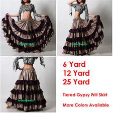 TurqsBlue//Black Satin 6//12//25 Yard Tiered Gypsy Frill Skirt Belly Dance Flamenco
