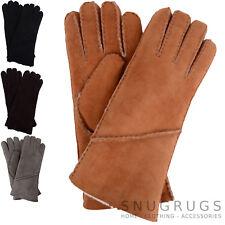 Ladies / Womens Genuine Sheepskin Gloves with Turn Back Long Cuff