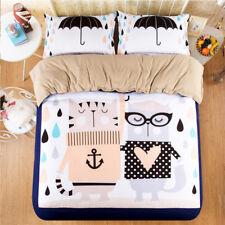 3D Cartoon Cat Kid 89 Bed Pillowcases Quilt Duvet Cover Set Single Queen King CA