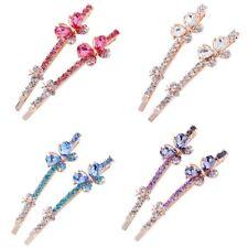1 Pairs Edge Clamp Rhinestone Barrette Hairpin Crystal Butterfly Hair Clip