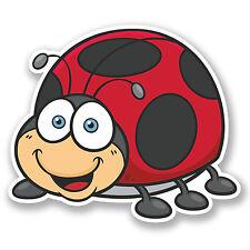 2 x 10cm Ladybird Ladybug Vinyl Sticker iPad Laptop Car Happy Bug Kids Fun #5198
