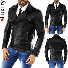 DE Herren Lederjacke Biker Men's Leather Jacket Coat Homme Veste En cuir T58