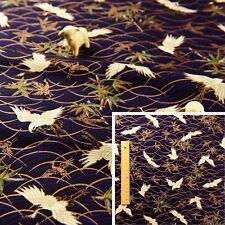 JAPANESE BLUE Meter/Fat Quarter/Squares Cotton Fabric Crane Metallic Oriental