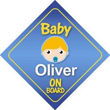 Baby Oliver a bordo de signo * Elección De Pelo Colores *