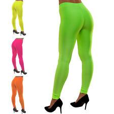 80's Neon Leggings Various Colours 1980s Womens Adults Fancy Dress Costume