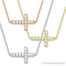 Sideways Cross Christian Charm Pendant Cubic Zirconia Sterling Silver Necklace