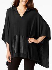 Karen Kane 3N94708 Oversized Black Hood Poncho Sweater w/Leather Kangaroo Pocket