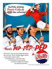 There's pep pep pep ,  Vintage Pepsi cola magazine advert poster reproduction.