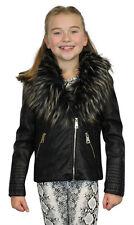 Filles fausse fourrure doublure collor en cuir synthétique pvc motard vestes cuir look