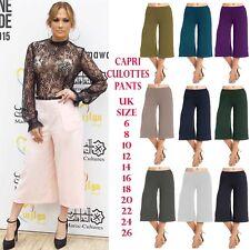 Womens Wide Leg Culottes 3/4 Length Shorts Trousers Capri Palazzo Pants Legging