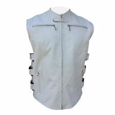 Hommes Style Motard Gilet Authentique Cuir Vachette Blanc Moto Gilet