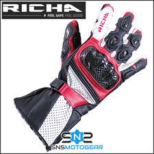 Richa Ravine Leather Sports Summer Motorcycle Motorbike Race Glove - Black/Red