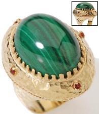Technibond Genuine Malachite Royal Crown Ring 14K Yellow Clad Gold Silver