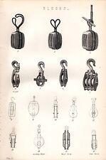 1880 blocchi di stampa ~ ~ GANCI PULEGGIA blocco di legno ferro leader ecc.