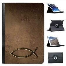 Jesus Fish Symbol On Brown Stone Christian Folio Leather Case For iPad Mini