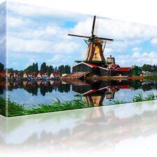 Windmühle Dorf See Bild auf Leinwand Fotodruck Einteilige Wandbilder