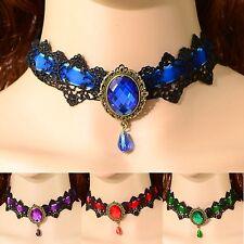 Choker Schwarz Spitze Gothic Collier Kragen Halsband Barock Victorian 7 Farben