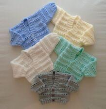 Newborn Baby and Tiny Baby Boys Cardigan Hand Knitted Blue Cream Mint Grey White